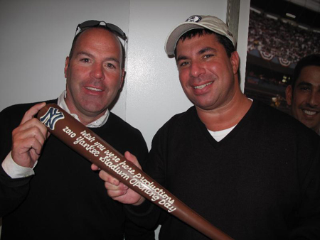 Tim and Andrew with the 2010 Opening Day Chocolate Bat at The 'Perfect' Suite at Yankee Stadium